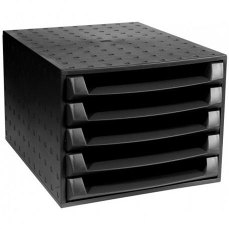 Ladice za spise Multiform the Box, 5 otvorenih ladica, crna