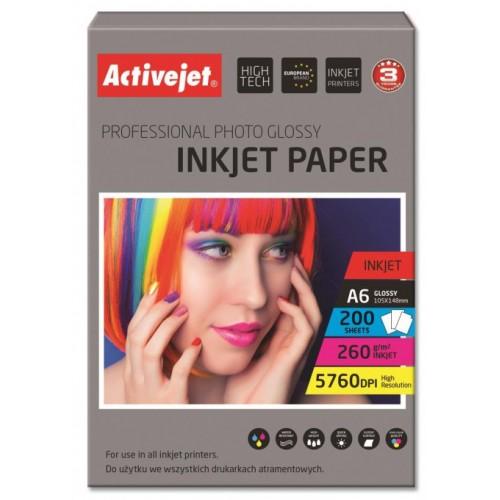 Foto papir Activejet 10 x 15 cm, Inkjet Glossy 260g, 200/1