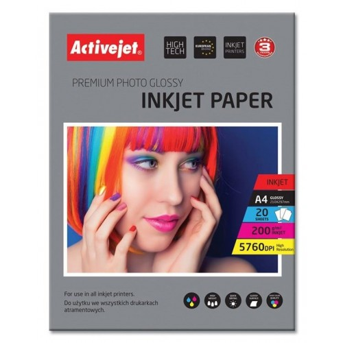 Foto papir Activejet A4 Inkjet Glossy 200 g,  20/1