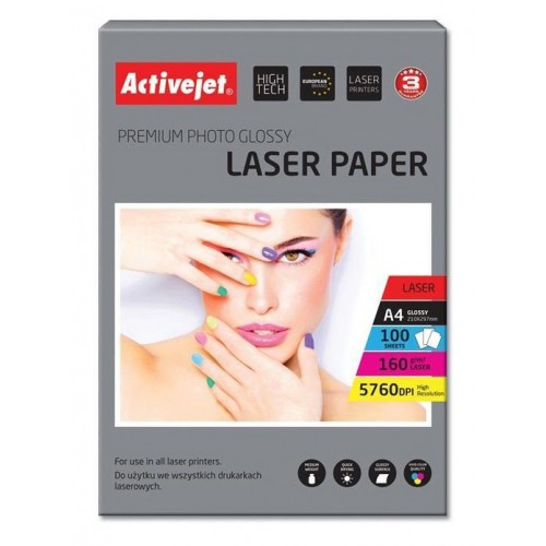 Foto papir Activejet A4 Laser Glossy 160 g,  100/1