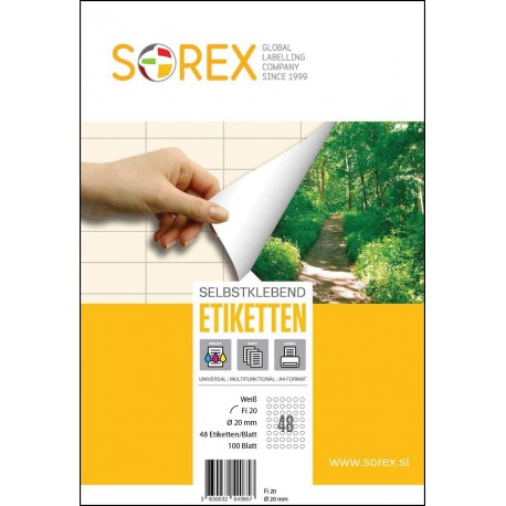Etikete Sorex okrugle - Ø 20 mm, 100/1