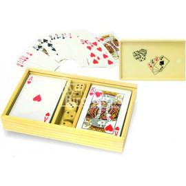 Set igralnih kart in kock v leseni škatli